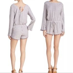 Anthropologie Cloth Stone Romper Striped Linen